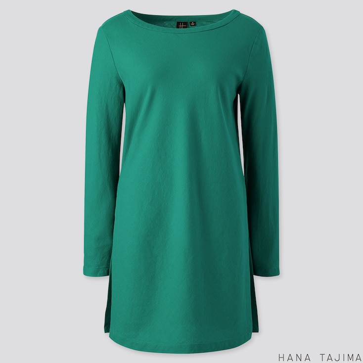 WOMEN FLANNEL BOAT NECK LONG-SLEEVE TUNIC (HANA TAJIMA), GREEN, large