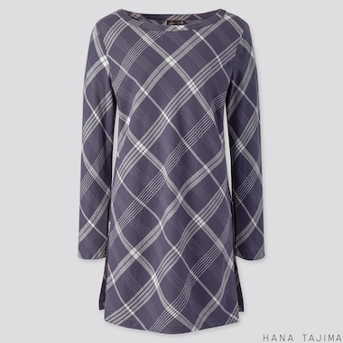 WOMEN FLANNEL BOAT NECK LONG-SLEEVE TUNIC (HANA TAJIMA), BLUE, medium