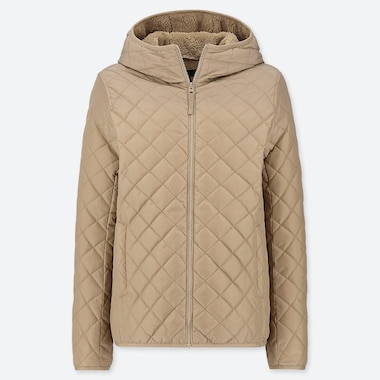 WOMEN PILE-LINED FLEECE QUILTED PARKA (ONLINE EXCLUSIVE), BEIGE, medium