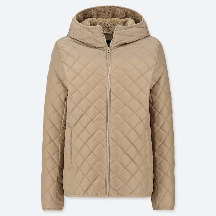 WOMEN PILE-LINED FLEECE QUILTED PARKA (ONLINE EXCLUSIVE), BEIGE, large