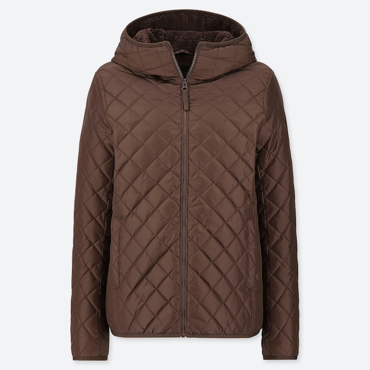 WOMEN PILE-LINED FLEECE QUILTED PARKA (ONLINE EXCLUSIVE), BROWN, large