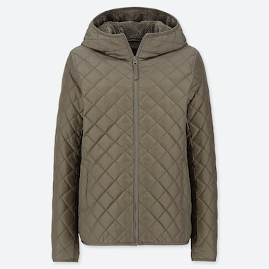 WOMEN PILE-LINED FLEECE QUILTED PARKA (ONLINE EXCLUSIVE), OLIVE, medium