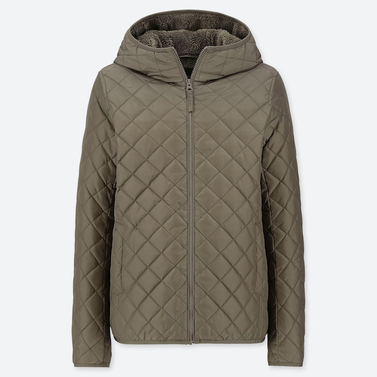 WOMEN PILE-LINED FLEECE QUILTED PARKA (ONLINE EXCLUSIVE), OLIVE, large