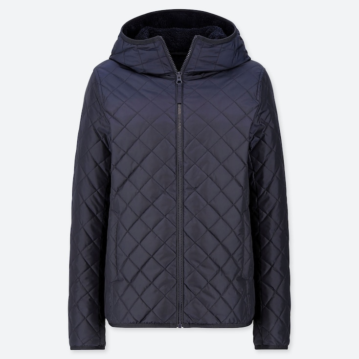 Women Pile-Lined Fleece Quilted Parka (Online Exclusive), Navy, Large