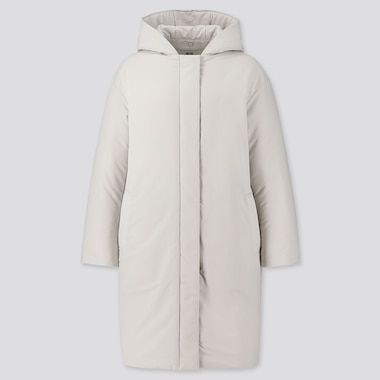 WOMEN HYBRID DOWN COCOON COAT, LIGHT GRAY, medium