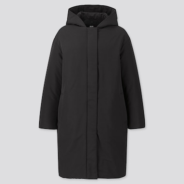 WOMEN HYBRID DOWN COCOON COAT, BLACK, medium
