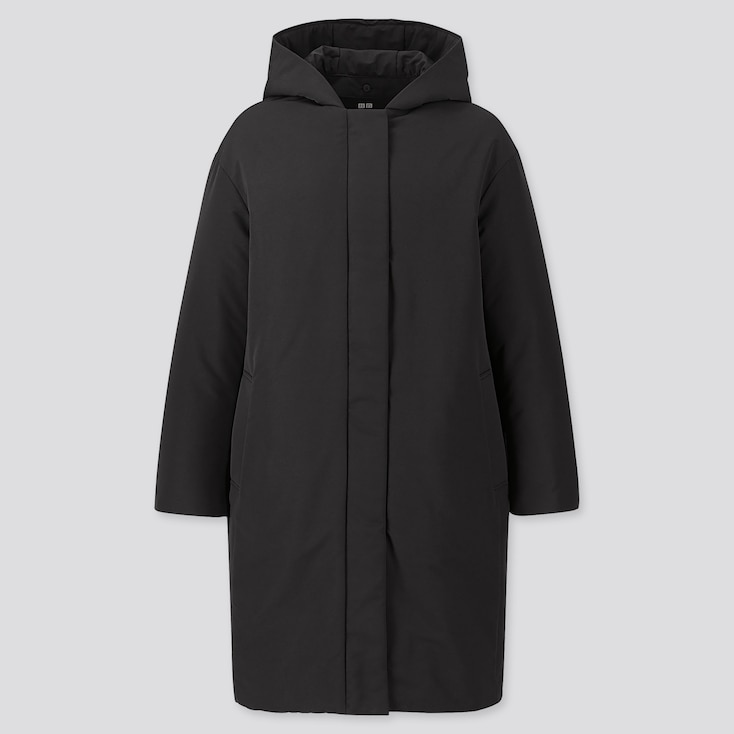 WOMEN HYBRID DOWN COCOON COAT, BLACK, large