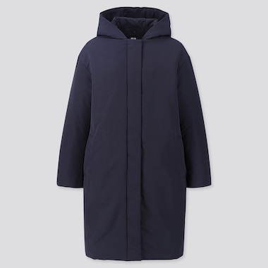 WOMEN HYBRID DOWN COCOON COAT, NAVY, medium