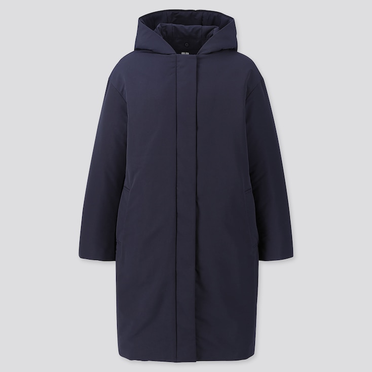 WOMEN HYBRID DOWN COCOON COAT, NAVY, large
