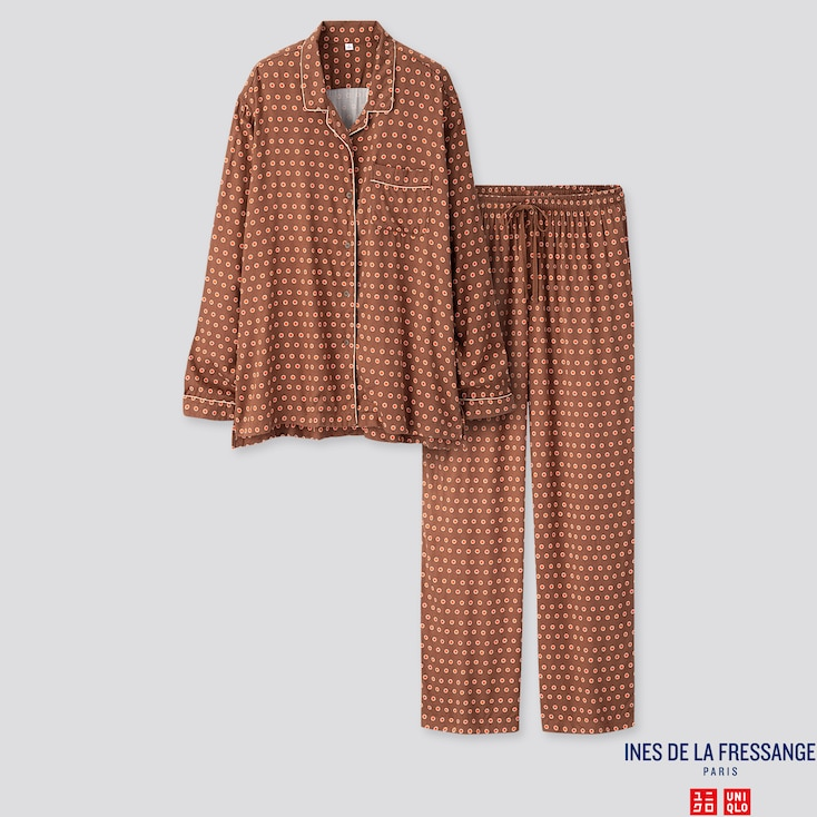 WOMEN RAYON LONG-SLEEVE PAJAMAS (INES DE LA FRESSANGE), DARK BROWN, large