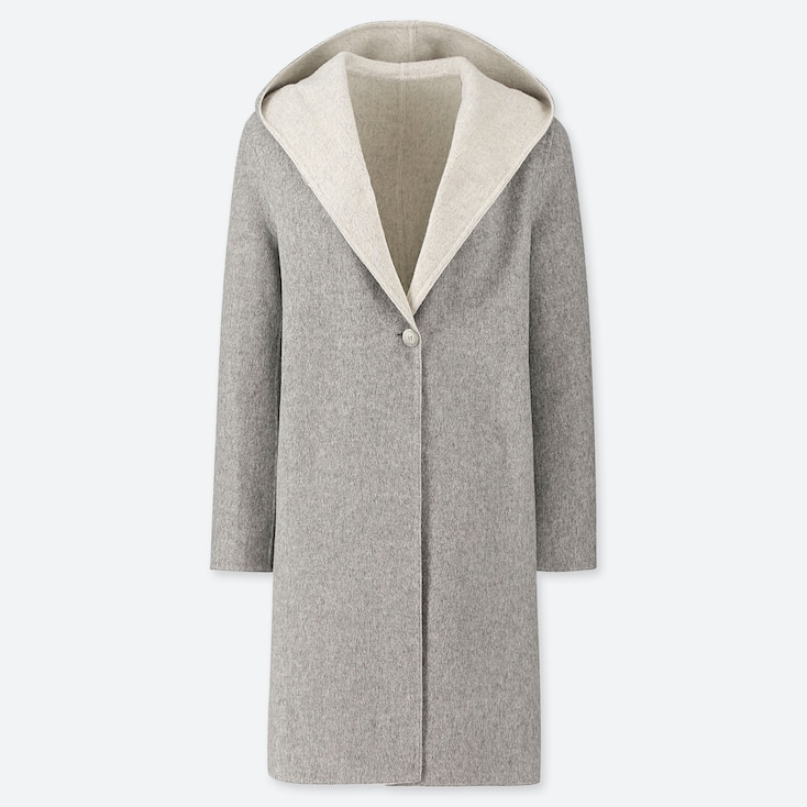 Women Double-Face Hooded Coat, Gray, Large