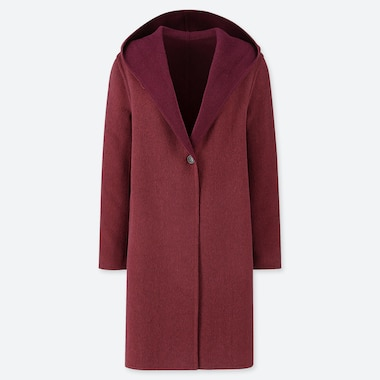 WOMEN DOUBLE-FACE HOODED COAT, WINE, medium