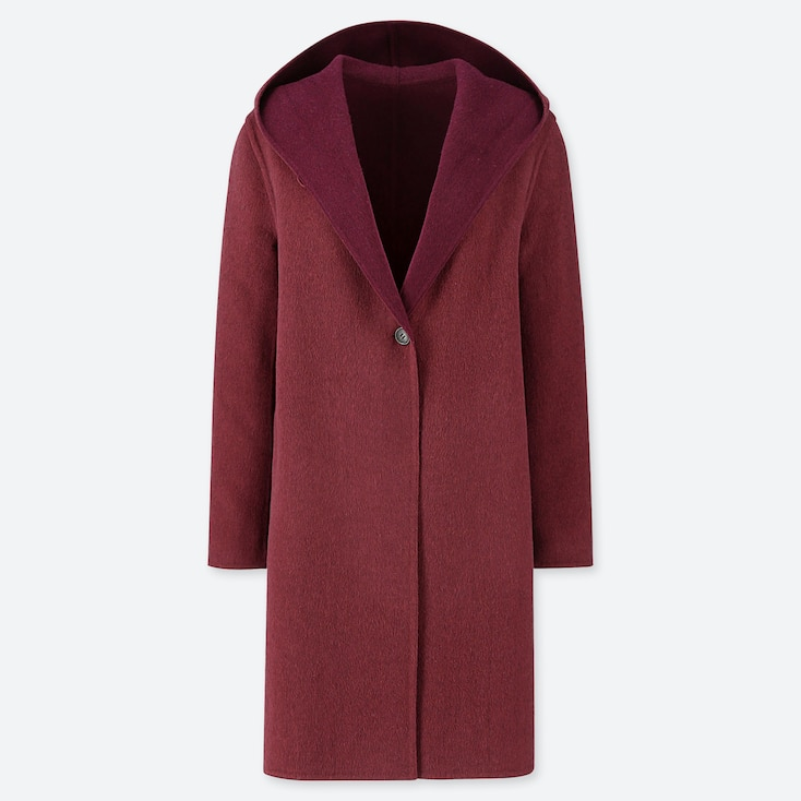 WOMEN DOUBLE-FACE HOODED COAT, WINE, large