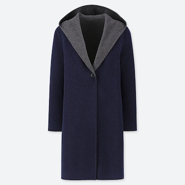 WOMEN DOUBLE FACED HOODED COAT