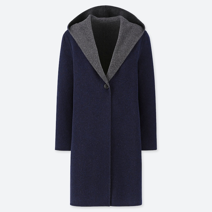 WOMEN DOUBLE-FACE HOODED COAT, NAVY, large