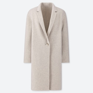 WOMEN DOUBLE-FACE COCOON COAT, LIGHT GRAY, medium