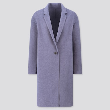 WOMEN DOUBLE-FACE COCOON COAT, BLUE, medium