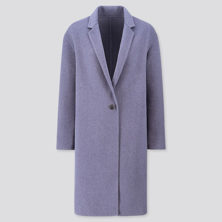 WOMEN DOUBLE-FACE COCOON COAT, BLUE, large