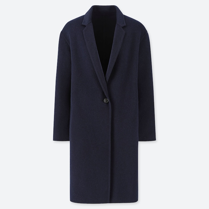 WOMEN DOUBLE-FACE COCOON COAT, NAVY, large
