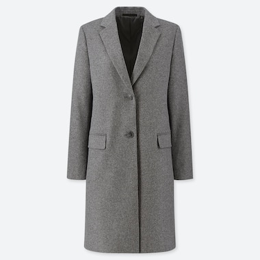 WOMEN WOOL CASHMERE BLEND CHESTERFIELD COAT