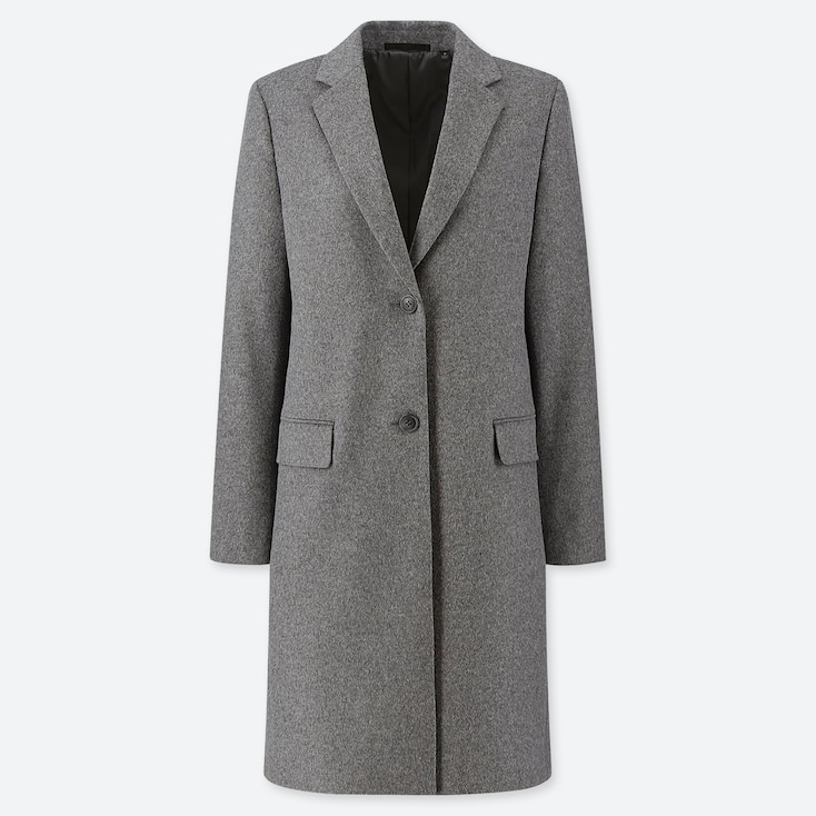 WOMEN CASHMERE BLEND CHESTER COAT, GRAY, large