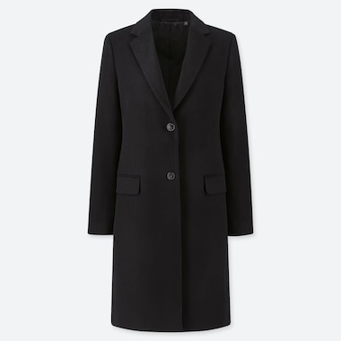 WOMEN CASHMERE BLEND CHESTER COAT, BLACK, medium
