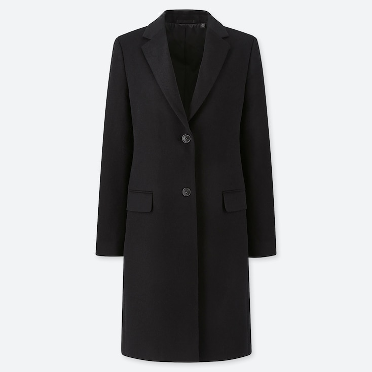 WOMEN CASHMERE BLEND CHESTER COAT, BLACK, large