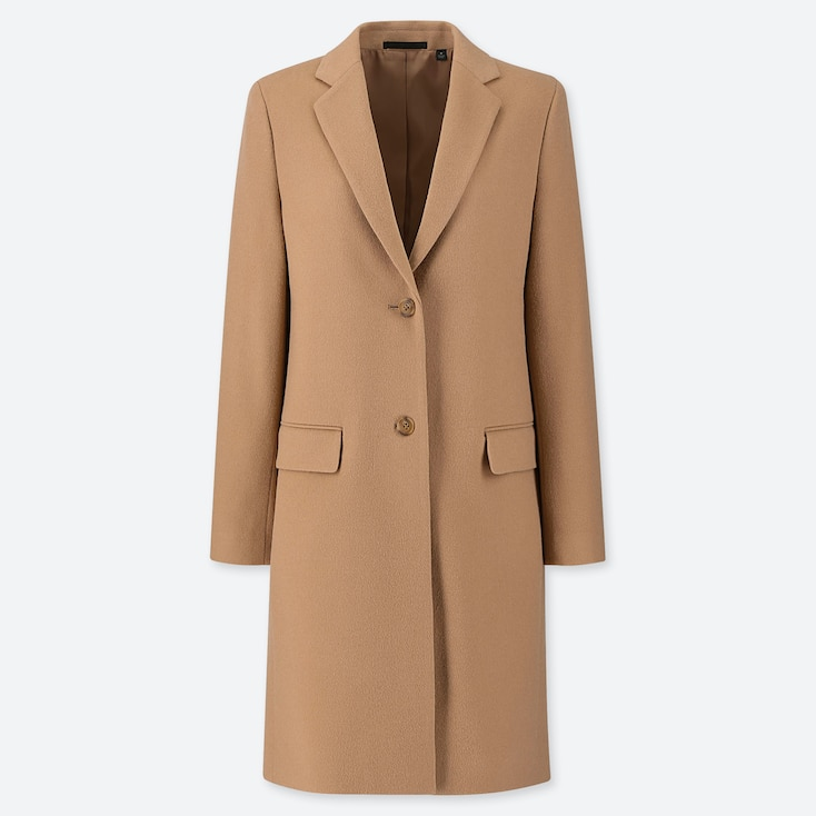 WOMEN CASHMERE BLEND CHESTER COAT, BEIGE, large