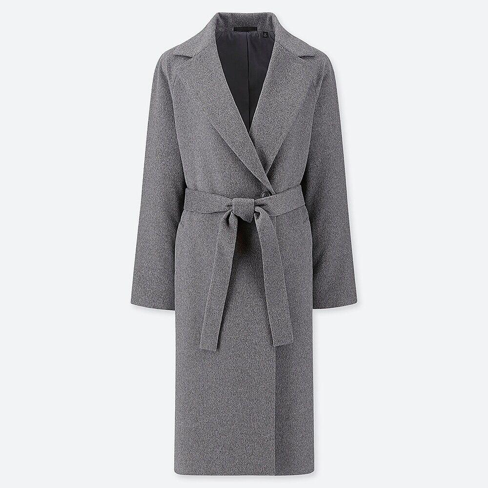 WOMEN WOOL-BLEND WRAP COAT