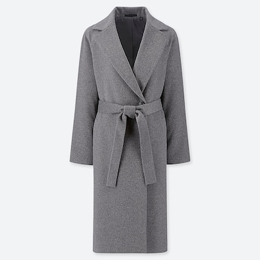 WOMEN WOOL-BLEND WRAP COAT, GRAY, medium