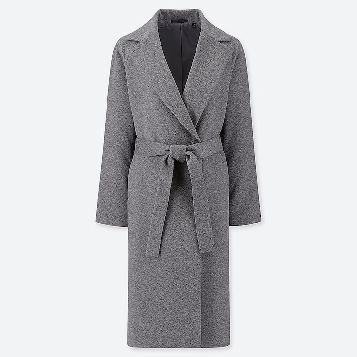WOMEN WOOL-BLEND WRAP COAT, GRAY, large