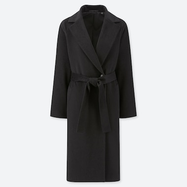 WOMEN WOOL-BLEND WRAP COAT, BLACK, medium