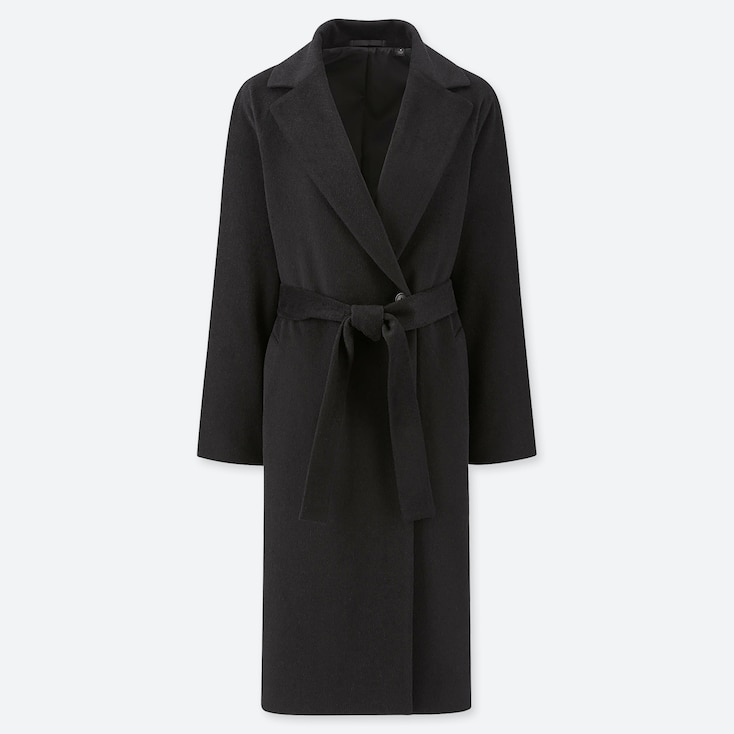 WOMEN WOOL-BLEND WRAP COAT, BLACK, large