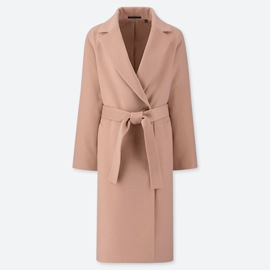 WOMEN WOOL-BLEND WRAP COAT, PINK, medium