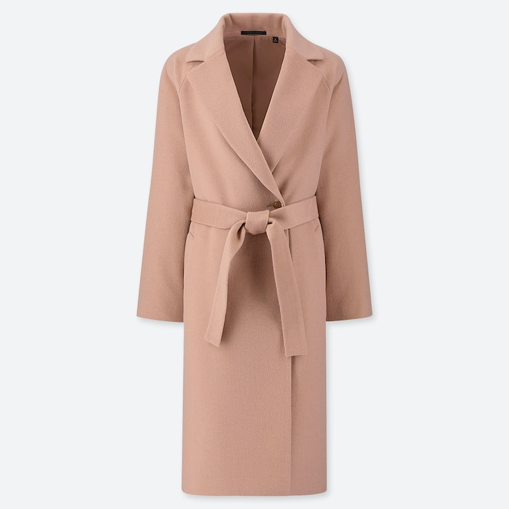 Women Wool-Blend Wrap Coat, Pink, Large