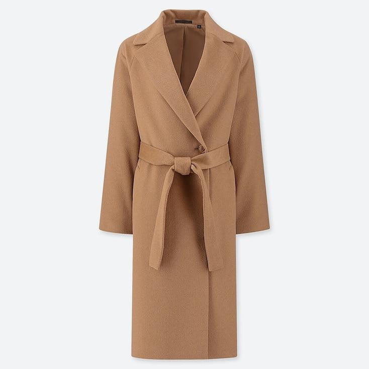 WOMEN WOOL-BLEND WRAP COAT, BEIGE, large