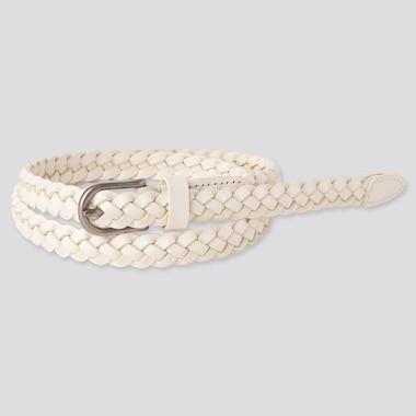 Women Mesh Skinny Belt, Off White, Medium