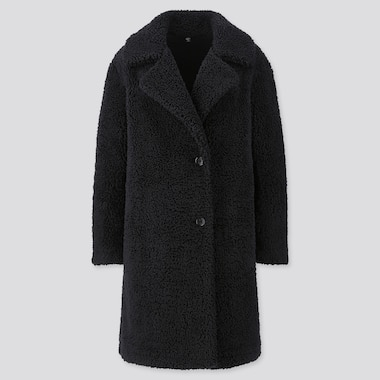 Women Pile-Lined Fleece Tailored Coat, Black, Medium