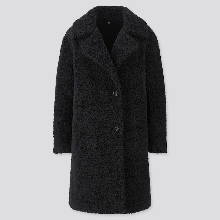 Women Pile-Lined Fleece Tailored Coat, Black, Large