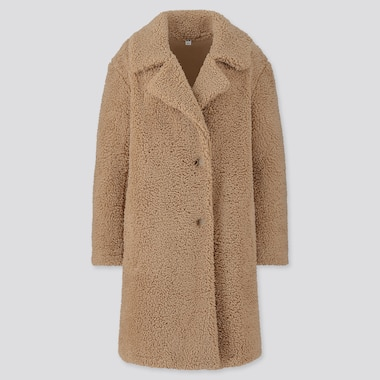 Women Pile-Lined Fleece Tailored Coat, Beige, Medium