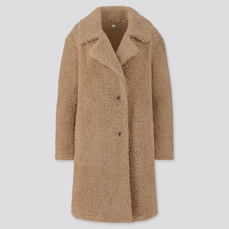 WOMEN PILE-LINED FLEECE TAILORED COAT, BEIGE, large