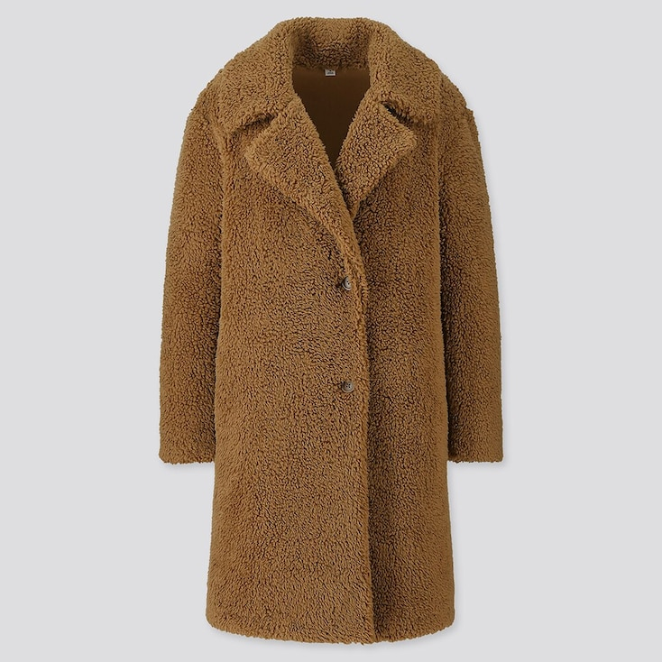 Women Pile-Lined Fleece Tailored Coat, Brown, Large