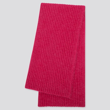 WOMEN SOUFFLE YARN KNITTED SCARF, PINK, medium