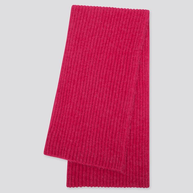 Women Souffle Yarn Knitted Scarf, Pink, Large