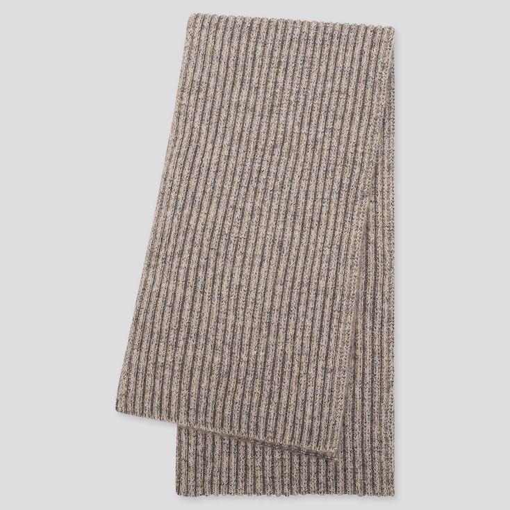 WOMEN SOUFFLE YARN KNITTED SCARF, BEIGE, large
