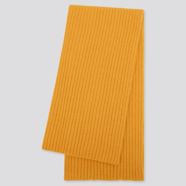 WOMEN SOUFFLE YARN KNITTED SCARF, YELLOW, medium