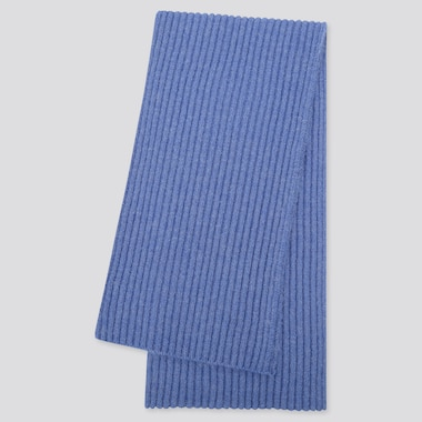 Women Souffle Yarn Knitted Scarf, Blue, Medium