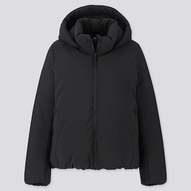 WOMEN HYBRID DOWN PARKA, BLACK, medium