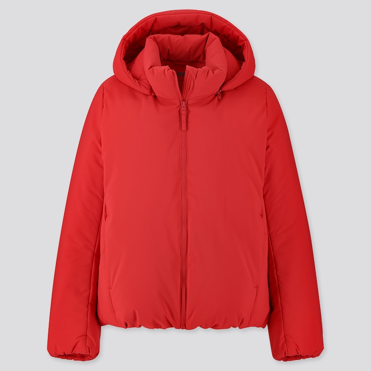 WOMEN HYBRID DOWN PARKA, RED, large