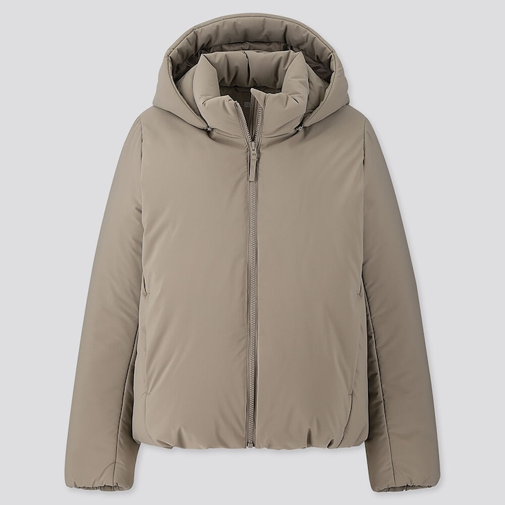 WOMEN HYBRID DOWN PARKA, BEIGE, large